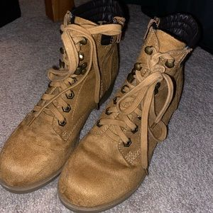 Wheat colored lace up block heel boot